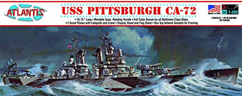 USS Pittsburgh CA-72 Heavy Cruiser Plastic Model Kit Famous Ship 1/490 Scale Atlantis