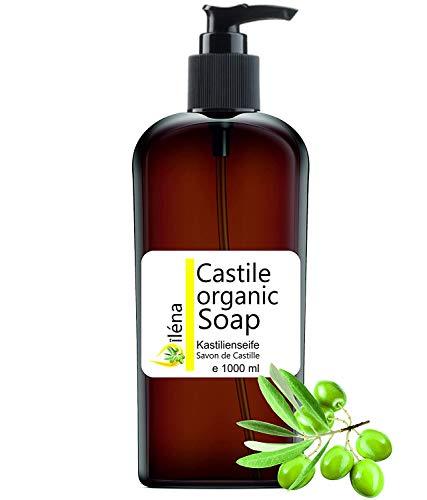 ÚNICO y AUTENTICO JABON DE CASTILLA - ECOLOGICO, a base únicamente de Aceite de Oliva, quita puntos negros, gel limpiador facial y cuerpo, pelo, cocina, ropa. liquido limpiador transparente (1000 ml)