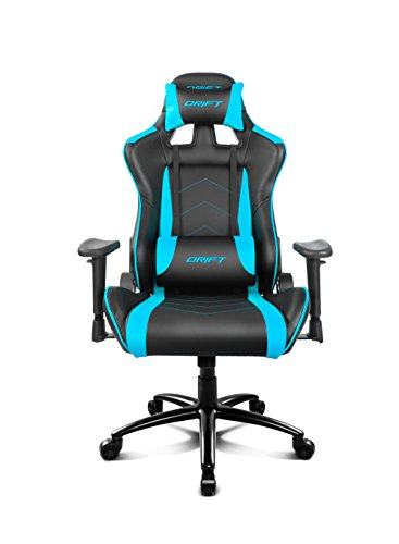 Drift DR150BL - Silla Gaming Profesional, polipiel, reposabrazos ajustable, piston clase 4, asiento basculable, altura regulable, respaldo reclinable, cojines lumbar y cervical, color negro/azul