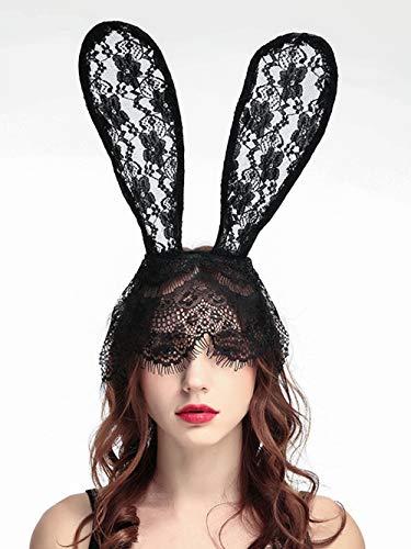 FXmimior Masque sexy en dentelle pour Halloween avec oreilles de lapin Noir
