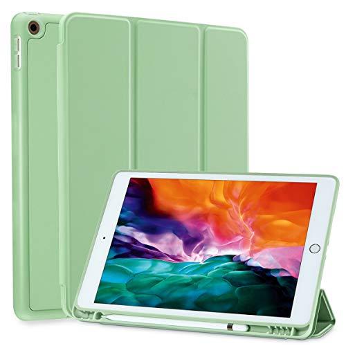 SIWENGDE Hülle für iPad 10.2 Zoll 2020/2019, schlanke leichte Schutzhülle für iPad 8 Generation/iPad 7 Generation, TPU Soft Smart Cover mit Stifthalter, Auto Wake/Sleep (Matcha Grün)