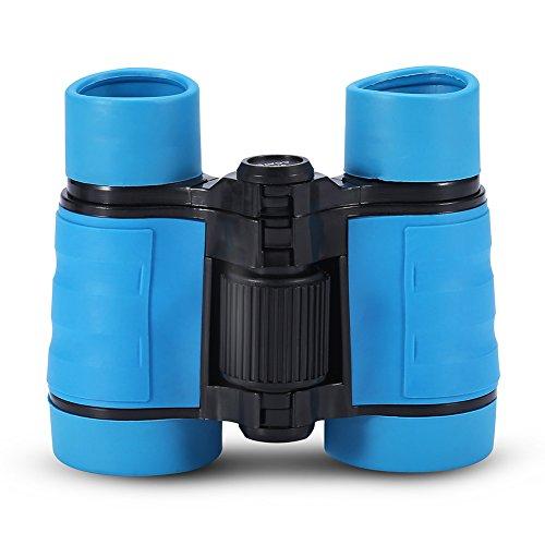 Dilwe Prismáticos para niños, 3 colores, 4 veces, con revestimiento azul, prismáticos con cordón y bolsa de almacenamiento para niños, caza, observación de aves, viajes, escalada