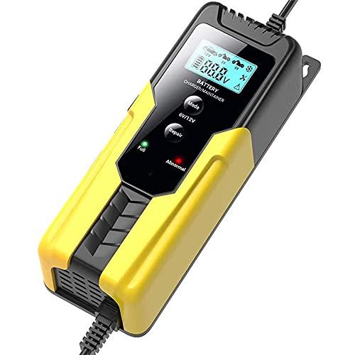 LVYE1 MRMF Cargador De Batería De Coche, 6V 2A / 12V 6A Inteligente Automático Reparación De Baterías Mantenedor De Cargador para Motocicleta Baterías De Coche (AGM, Gel, MF, SLA, VRLA),Amarillo