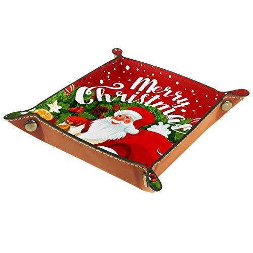 YATELI Kleine Aufbewahrungsbox,Herren-Valet-Tablett,Frohe Weihnachten Santa Claus Rotwein,Leder Catchall Organizer für Coin Box Key Schmuck