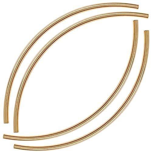 Beadaholique Perles tubulaires incurvées de 3 mm x 100 mm, Longues, plaquées Or 22 carats.