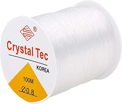 Elastic Bracelet String for Bracelets, 0.8mm Clear String Elastic Cord for Jewelry Making, Elastic Stretchy String Thread for Beading (White, 0.8mm)