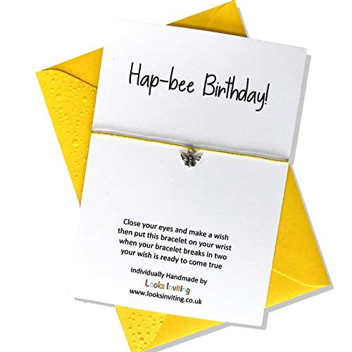 Bee Wish Bracelet Gift. Hap-bee Birthday. Choose your colour of cord and envelope
