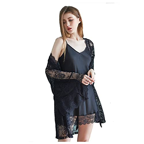 GHZG Ladies Sustender Nightdress Sexy Lace Camingown Dwe-Piece Sexy...