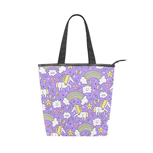 Jeansame Canvas Tote Bag Vrouwen Shopper Top Handvat Tassen Schouder Handtassen met Rits Leuke Eenhoorns Regenboog Hart Liefde