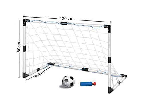 Inside Out Toys Childrens, Kids Football Goal Set, Size 1.2 metre Wide x 0.8 metre Tall, One Goal with Net and Ball Size