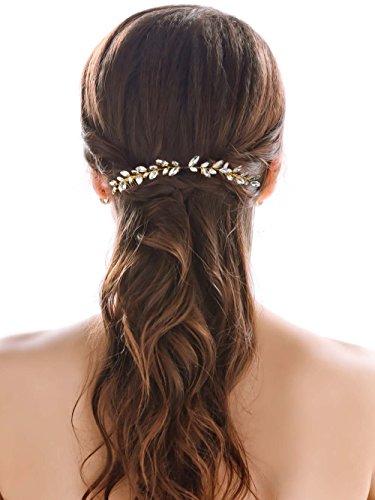 handcess boda peines de pelo Clips de ópalo brillantes para novia, diseño de flores, accesorios para el pelo para Novias y damas de honor (oro)