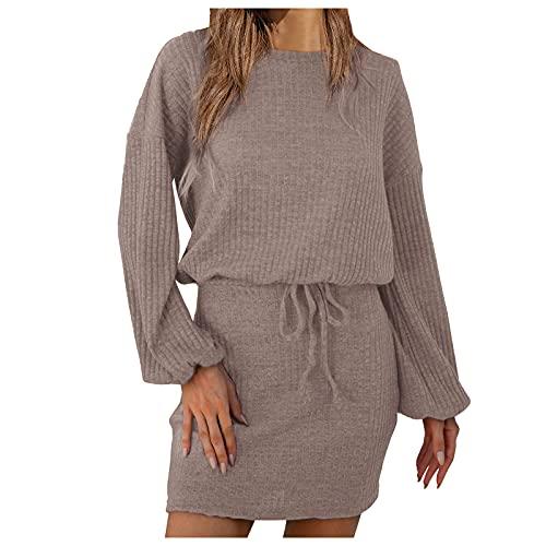 TYTUOO Robe tendance décontractée en tricot - Col rond - Manches longues - Ceinture - Robe de cocktail ou de soirée, a-kaki, S