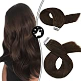 Moresoo 18 Inch Tape in Extensions Remy Hair Seamless Skin Weft 100 Grams #4 Brown Tape on Hair Extensions Straight Hair Extensions Thick 40 PCS Tape Hair Extensions