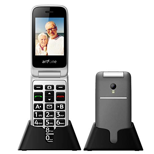 """Artfone 3G Senior Flip Cell Phone Unlocked,AT&T Big Button Mobile Phone for Elderly with Charging Dock and 2.4"""" Large Screen(Silvery Grey)"""