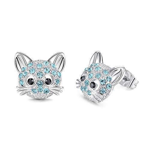 CheersLife Gato Pendientes de botón Kitty hipoalergénico Pendientes de circonio cúbico para mujeres Adolescentes Niñas Amantes de los gatos Fiesta de regalo de cumpleaños Pendientes de Halloween para