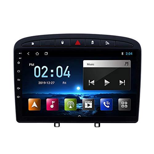 Radio Estéreo De Coche Bluetooth, para Peugeot-308 408 2010-2016 Apoyo De Reproductor MP5 Llamadas Manos Libres Radio FM Enlace Espejo/WiFi/AUX Entrada/1080P Video/SWC,Quad Core,WiFi 1+16