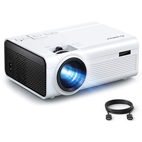 Crosstour Proiettore Mini Videoproiettore Portatile Supporta Full HD 1080P 55000 Ore LED Doppio Altoparlante Home Cinema con HDMI USB TV Box TV Stick Micro SD PS4 (Cavo HDMI AV Incluso)