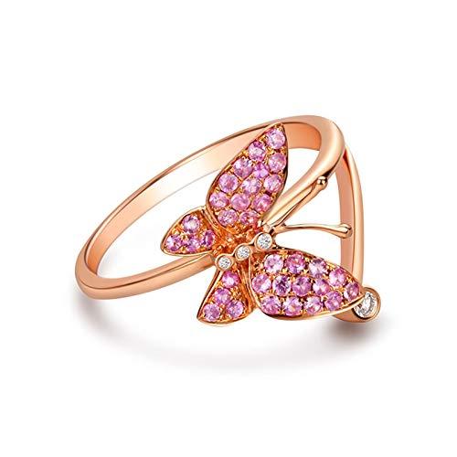 AueDsa Anello di Fidanzamento da Donna Oro Rosa Anelli Donna Oro Rosa 18K Farfalla Zaffiro Rosa 0.252ct Bianco Diamante 0.031ct Taglia 25