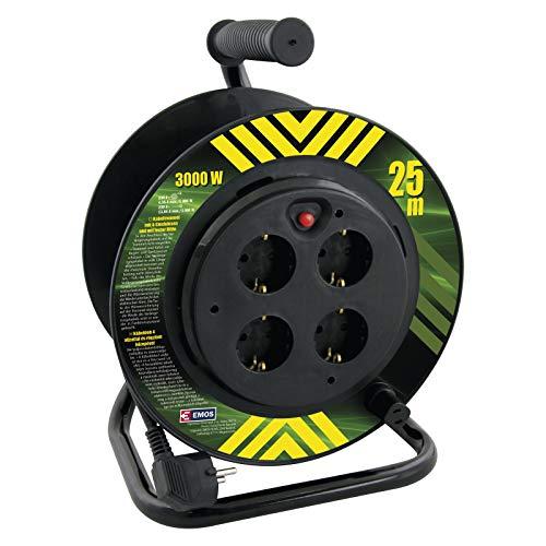 Enrouleur de câble Professionnel EMOS avec Centre Fixe, câble de 25 m, 4 Prises, 1,5 mm Schuko, Le Noyau ne Tourne Pas avec