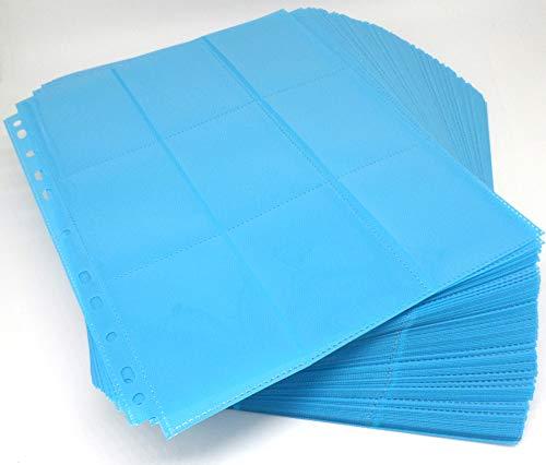 docsmagic.de 100 18-Pocket Pages Light Blue - Sideloading - 11 Holes - MTG PKM YGO - Pagina Azul Claro