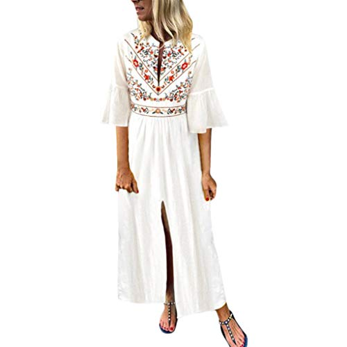 ♥ Loveso♥ Damen Beiläufige Lose Kleid Blumenmuster Langarm Boho Lang Maxi Kleid Trompetenärmel Kleid