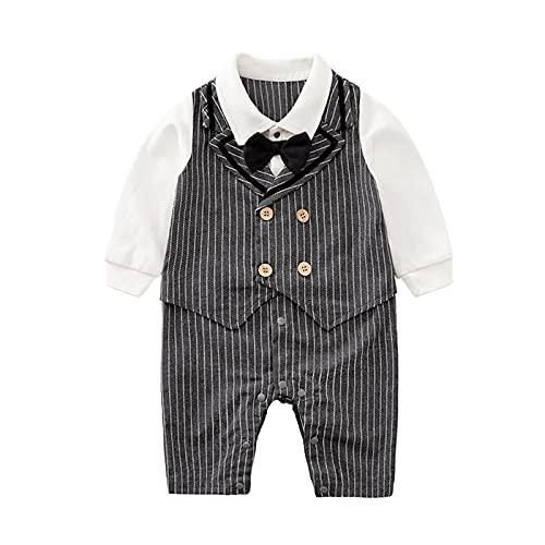 Psafagsa Romper Gentleman Tuxedo - Disfraz de manga larga para bebés de 0 a 18 meses, gris, 9-12 Meses