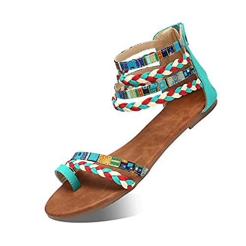 Camfosy Summer Flat Sandals for Women, Womens Beach Sandals Strappy Sandals Gladiator Shoes Wide Width Open Toe Summer Shoes Ankle Strap Sandals Casual Flip Flops Blue 2 8