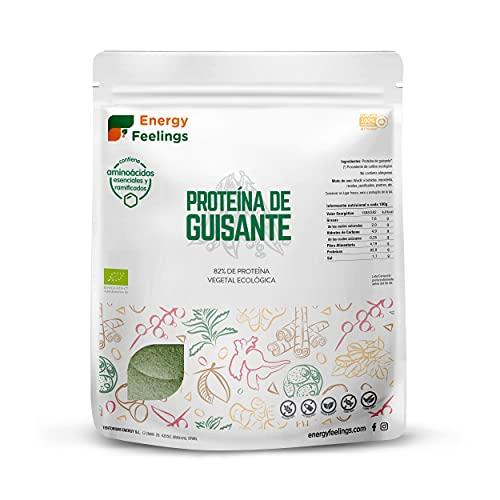 Energy Feelings Proteína de Guisante Ecológica | 82% Proteína Orgánica en Polvo Sin Sabor Añadido | Proteína Vegana | Sin Gluten | Sin Lactosa | Sin Azúcar Añadido | 1kg