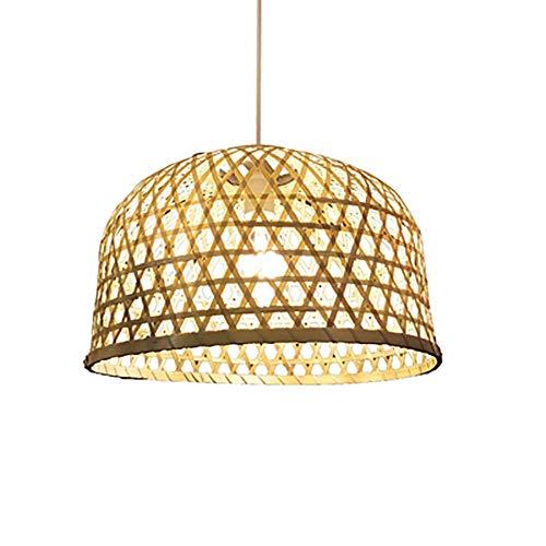 LLLKKK Lámpara de araña de bambú, lámpara colgante E27 de bambú artificial, estilo japonés, altura regulable, color madera, 60 cm