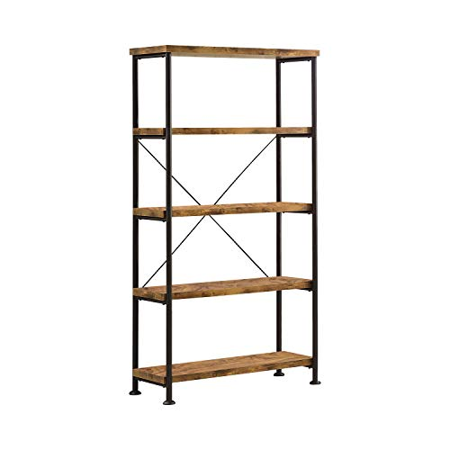 Coaster Home Furnishings Bookcase, Antique Nutmeg and Black