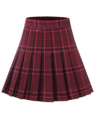 MUADRESS 9005 Falda Mujer de Patinadora a Cuadros para Fiesta Escolar Vacaciones Minifalda Klit Escocesa de Cintura Alta