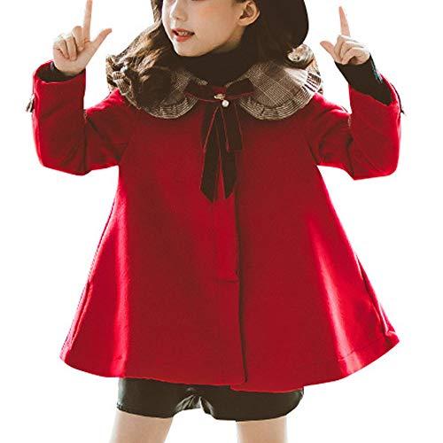 OCHENTA Girls' Bowknot Faux Wool Dress Coat Trench Jacket Peacoat Red Tag 130-6-7Y