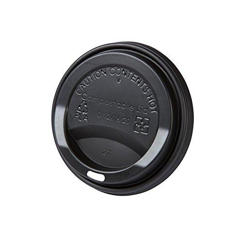 BIOZOYG Coffee to Go Deckel für Trinkbecher Ø 90mm I 100 Deckel für Pappbecher aus CPLA Biokunststoff 100% biologisch abbaubar, kompostierbar, recycelbar I Trinkloch Becherdeckel flach schwarz