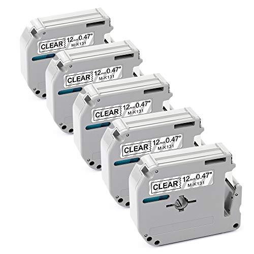 Freshworld Compatible Label Tape Replacement for 12mm 0.47Inch P-touch Brother M Tape MK-131 M131 M-K131 M-131,Black on Clear,for Brother Label Maker PT-M95,PT-90,PT-80,PT-65,PT-70BM,PT-70SR,PT-85, 5P