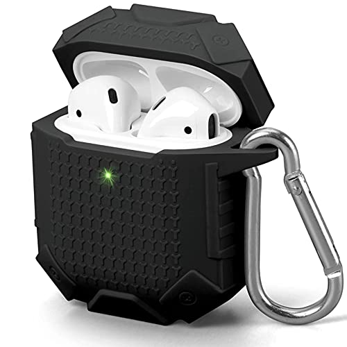 DINA Airpods case Silicon airpod case Anti-Shock and Anti-Slip air pods Classically Shaped Apple AirPods Cover 1/2 (Black)