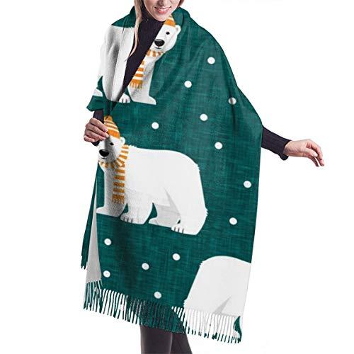 Beauty-Design Sciarpa da donna grande e morbida in cashmere, elegante e comoda, scialle invernali con orsi polari, foglia di tè e pois
