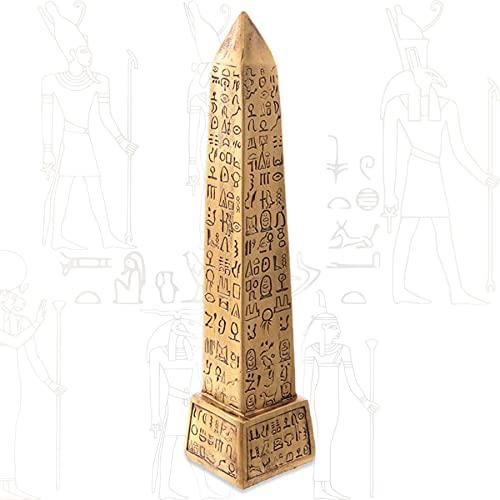 mtb more energy Figura decorativa 'Ancient obelisk', columna dorada con jeroglifatos egipcios, altura de 22 cm, decoración de estatua de Egipto