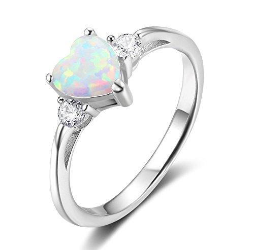 ACEFEEL - Anillo de compromiso de ópalo blanco con forma de corazón de plata...