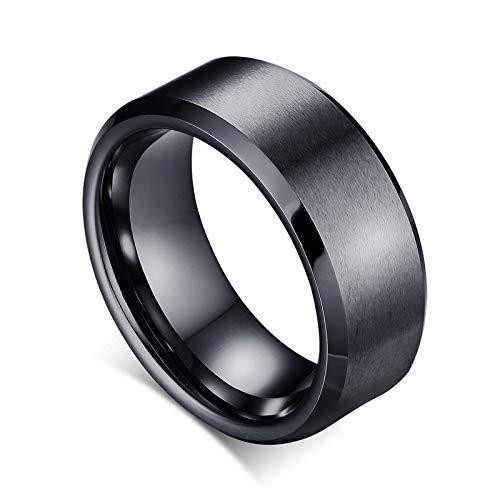 litulituhallo Anillo de 8 mm para hombre, carburo de tungsteno, acabado mate, liso, ajuste cómodo, color negro