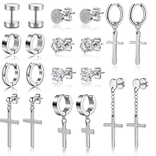 10 pares de pendientes de cruz de acero inoxidable, pendientes de botón, kit de pendientes de aro con bisagras colgantes para hombres y mujeres, joyería