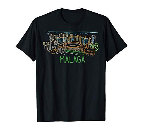 Malaga Spagna disegnata a mano regalo uomini donne Maglietta