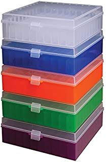 Argos R3130 Translucent Polypropylene 100 Place Microcentrifuge Tube Cryogenic Storage Box with Assorted Color Lids for 0.5, 1.5 and 2.0mL Microcentrifuge Tubes (Pack of 5)