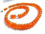 LOVEKUSH 925 Sterling Silver Rock Gift 7mm Stracking Orange Carnelian Necklace Rondelle, Faceted 17' for Mens, Womens.