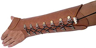 Windfulogo PU Leather Archery Arm Guard Hand Protector Brace Longbow Hunting Shooting Brown