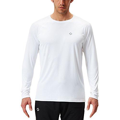 NAVISKIN Men's Sun Protection UPF 50+ UV Outdoor Long Sleeve Shirts White Size L