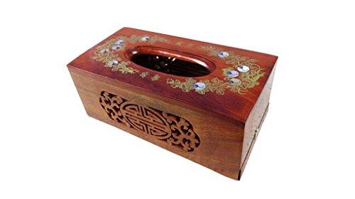 Restbuy - Boîte A Mouchoirs Rectangulaire En Bois Vintage Design Sculpture à Décorer Tissue Box