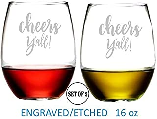 Cheers Yall Stemless Wine Glasses Etched Engraved Perfect Handmade Gifts for Everyone Set of 2