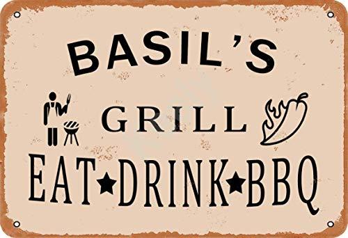 Keely Basil'S Grill Eat Drink BBQ Metall Vintage Zinn Zeichen Wanddekoration 12x8 Zoll für Cafe Coffee Bars Restaurants Pubs Man Cave Dekorativ