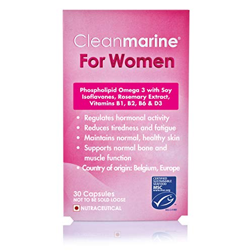 Cleanmarine for Women - Highly Absorbable Omega 3, Rosemary Oil and Soy Isoflavones - Added Vitamin B1, B2, B6 and D3-30 Servingsm Omega 3 Krill Oil for Women - 60 Capsules, NLF053