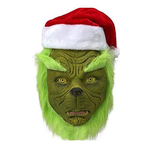 KJHG Costume Cosplay di Natale Grinch Green Monster Santa,Halloween Bambino Adulto Party Dress Grinch Maschera Spaventosa,7 Pezzi Abito Fantasia Babbo Natale Costumi Suit